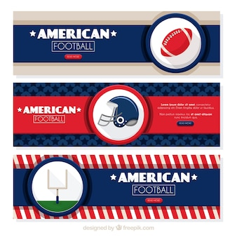 Set of three american football banners