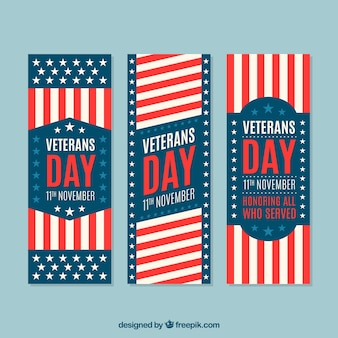 Set of three banners of veterans day
