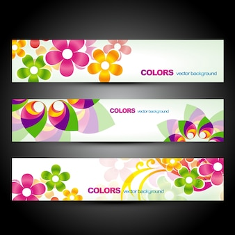 Set of three beautiful floral banners