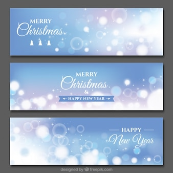 Set of three blue banners with bokeh effect for christmas