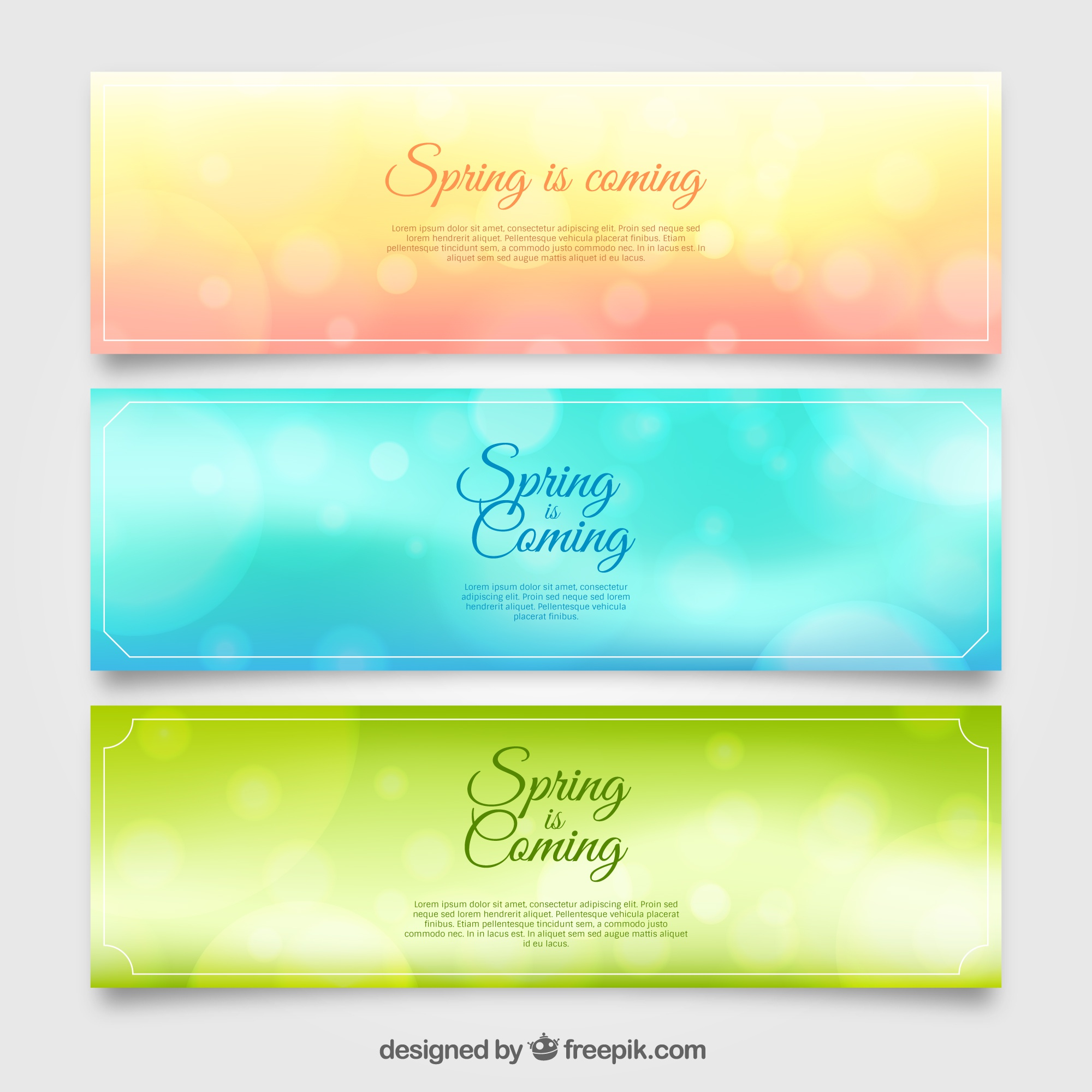 Set of three blurred banners with bokeh effect for spring