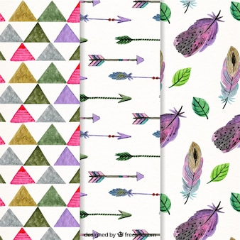 Set of three boho patterns in watercolor style