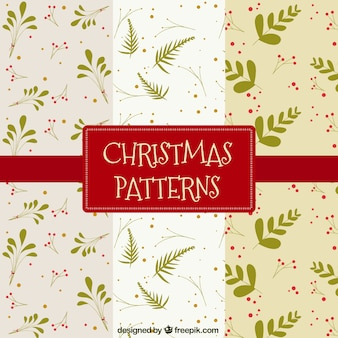 Set of three christmas patterns with green plants