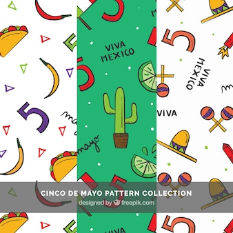 Set of three cinco de mayo patterns with hand-drawn items