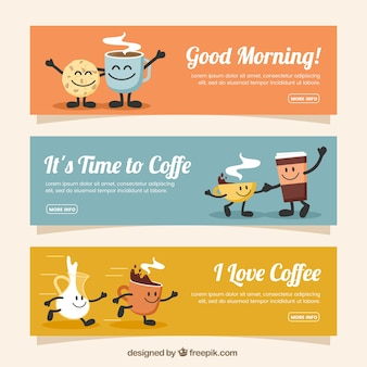 Set of three coffee banners with smiling characters