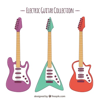 Set of three colored electric guitars
