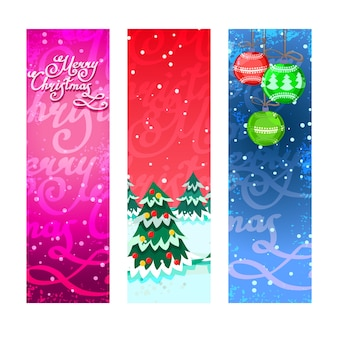 Set of three colorful banners for christmas