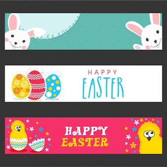 Set of three colorful easter banners
