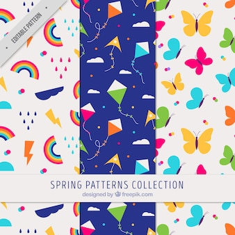 Set of three colorful patterns for spring