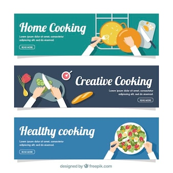 Set of three cooking banners