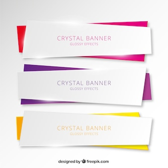 Set of three crystal banners