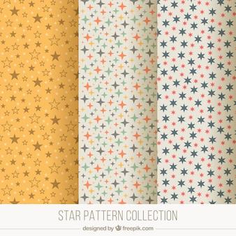 Set of three decorative patterns with stars