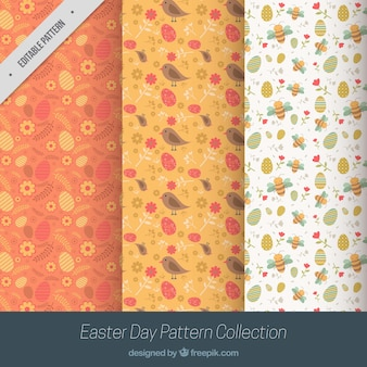 Set of three easter patterns with animals and eggs