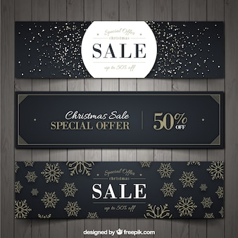 Set of three elegant christmas discount banners