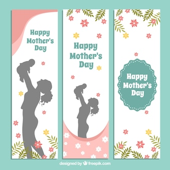 Set of three fantastic banners with silhouettes and flowers for mother's day