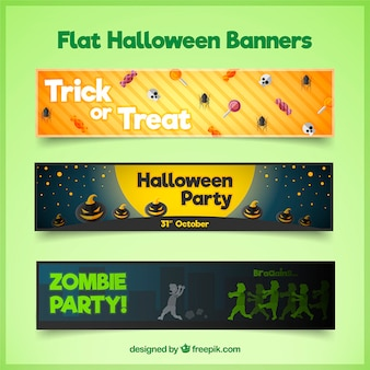 Set of three flat banners for halloween