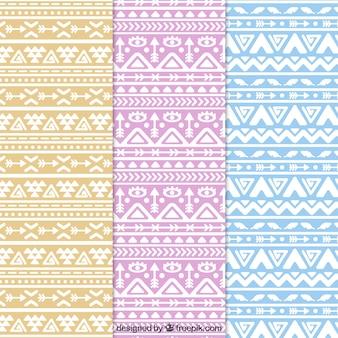 Set of three flat patterns with abstract shapes