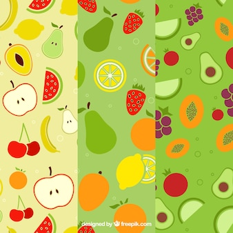 Set of three flat patterns with variety of fruits