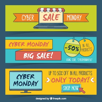 Set of three hand-drawn banners for cyber monday