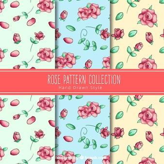 Set of three hand-drawn rose patterns