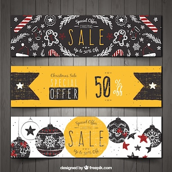 Set of three hand drawn vintage banners with discounts
