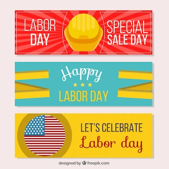 Set of three happy labor day american banners