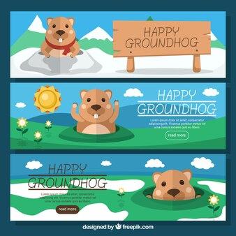 Set of three lovely groundhog banners in flat design