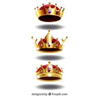 Set of three luxury crowns in realistic design
