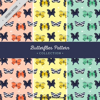 Set of three patterns with butterflies