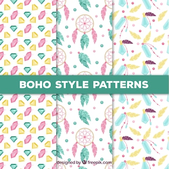 Set of three patterns with colored boho elements