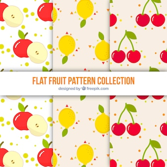 Set of three patterns with colored fruits