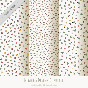 Set of three patterns with confetti