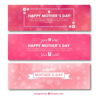 Set of three pink banners with blurred effect for mother's day