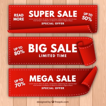 Set of three realistic sale banners