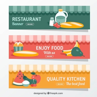 Set of three restaurant banners with flat foodstuffs