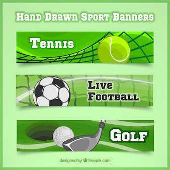 Set of three sport banners