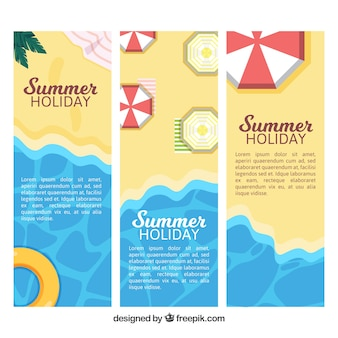 Set of three summer banners in flat design