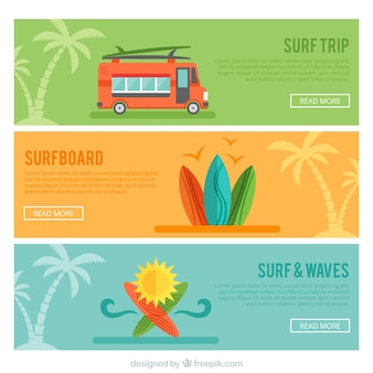 Set of three surf banners