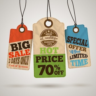 Set of three vintage sale labels