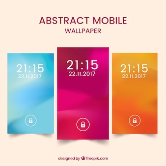 Set of three wallpapers of defocused colored mobiles