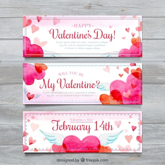 Set of three watercolor hearts banners