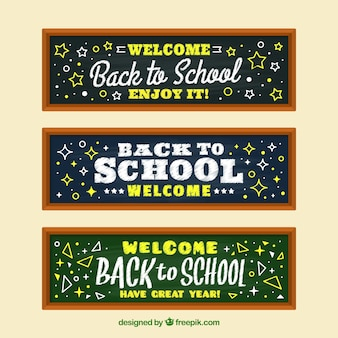 Set of three whiteboard banners with drawings