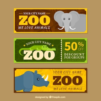 Set of three zoo sale banners