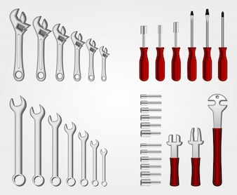 Set of tools in flat design