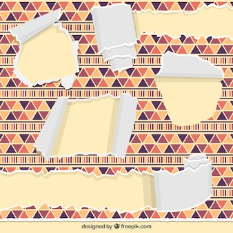 Set of torn papers in ethnic style