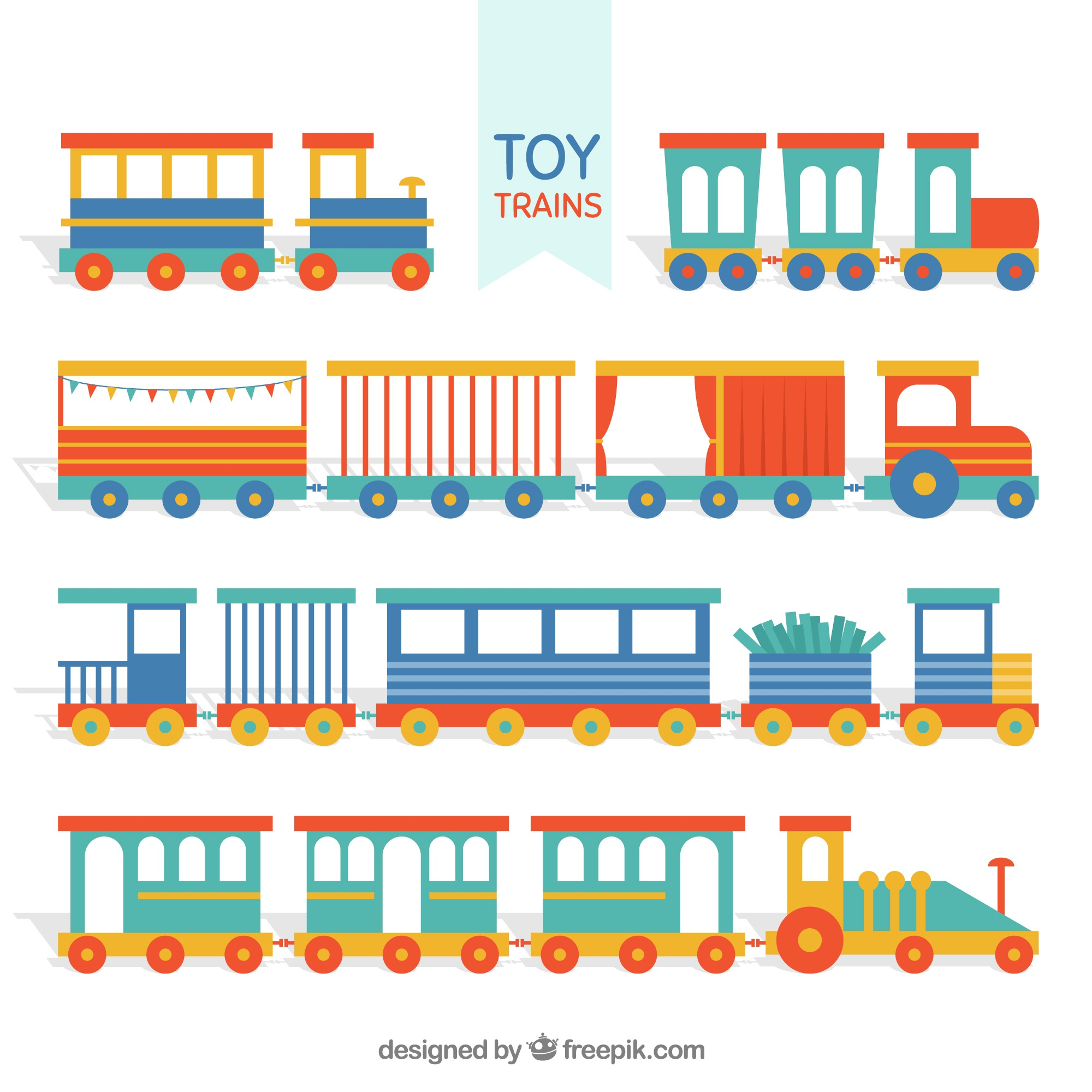 Set of toy trains with variety of wagons