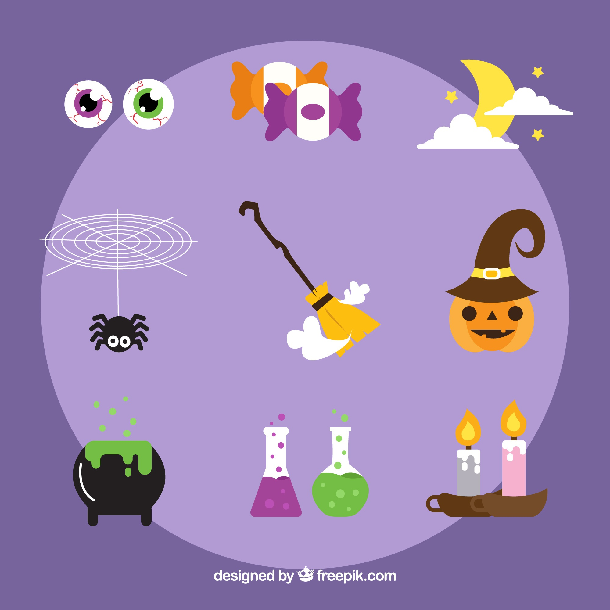 Set of traditional halloween elements
