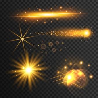 透明な金色の光効果のセット