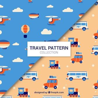 Set of transport patterns in flat design