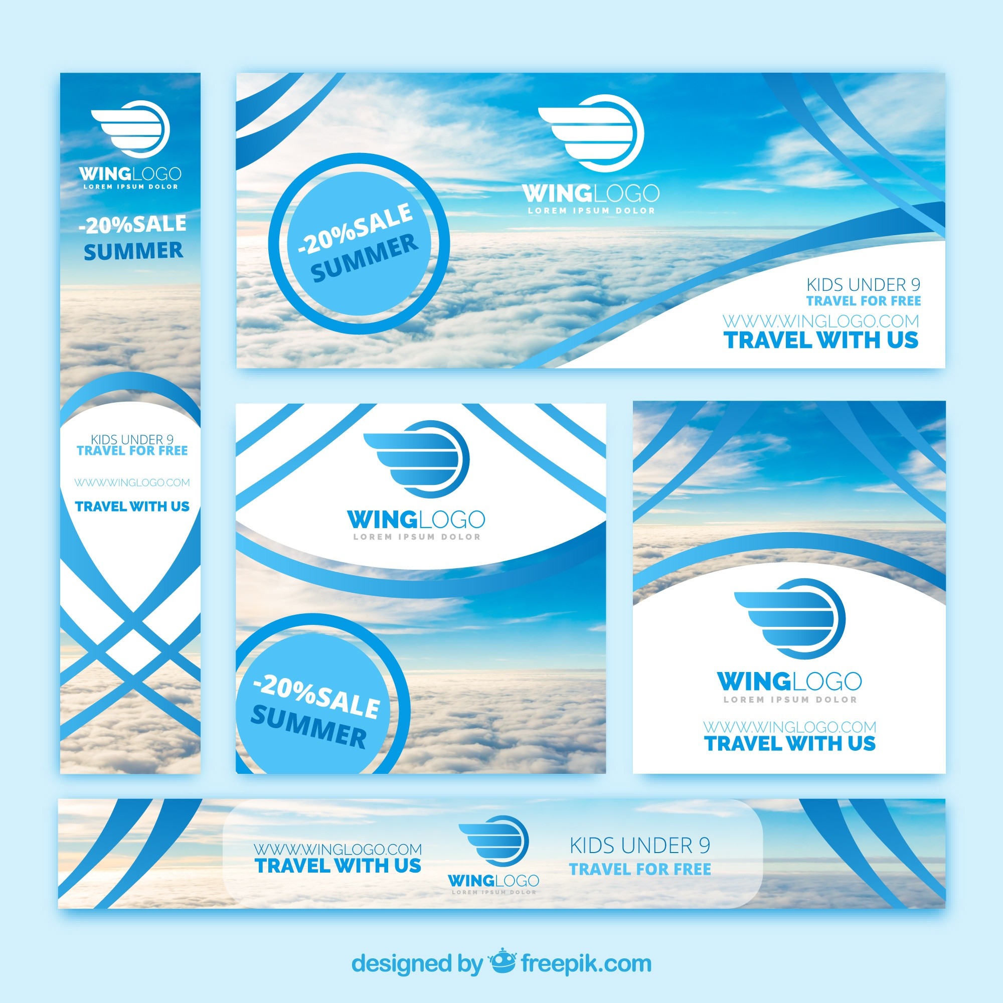 Set of travel agency banners